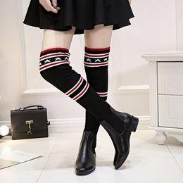 Wholesale Slimming Sock Legging - 2017 Winter Over The Knee High Boots Women Stovepipe Socks Boots Star Print Elastic Slim Leg Crochet Boot Lady Wool Motorcycle Botas CR28