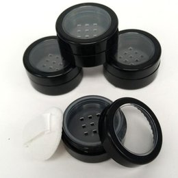 Wholesale Empty Cases - 5 10 ML Portable Empty Clear Make-up Powder Puff Box Case Container with Powder Puff Sifter and Black Screw Lid Loose Powder Jar Pot
