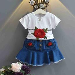 Wholesale Girl S Denim Sets - Girls Tee Tops+Embroidery Flower Denim Pants Outfits 2017 Summer Kids Boutique Clothing Cute Little Girls T-Shirt+skirt Set