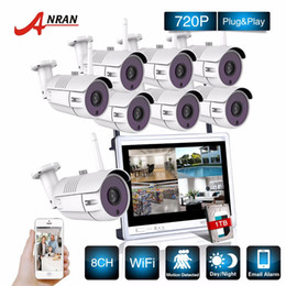 Wholesale Wireless Wifi Cctv Ip Camera - P2P CCTV 8CH NVR 12 Inch LCD Screen 36 IR Waterproof Network 720P IP Wireless Camera Surveillance Security WIFI System Kits