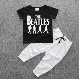 Wholesale Beatles Style - Cool fashion Summer Baby clothing sets the beatles boy t-shirt+pants suits set Toddlers sportwear baby boy clothes children boys clothes