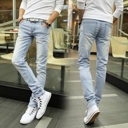 Wholesale Mens Model Korean - Wholesale- 2017 mens fashion jeans men pants 2017 models Korean plate light male Slim jeans feet large advantages 8188P30 8 8