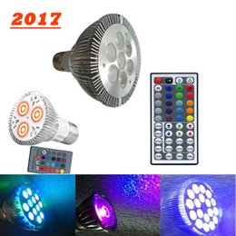 Wholesale E27 Flash Lamp - led PAR20 9W par30 par38 14W 18w 24w E27 RGB LED Bulb Stage Lamp Light 16 Colors Remote Control par 20 30 38 Flash Strobe AC 85-265V lamps