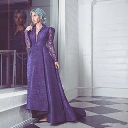 Wholesale Stands Evening - Purple Long Sleeves Evening Gowns Middle East Stand Collar Deep V Neck Prom Dress Long Illusion High Low Formal Party Dress Lace Vestidos