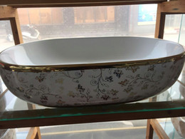 Wholesale Round Bowl Sink - Chinese Golden Edge Flower Pattern Counter Top Ceramic Bowl Golden Painting Bathroom Wash Basin