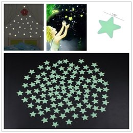 Wholesale 3d Ceiling Stickers - 3D Star Glow In The Dark Luminous Ceiling Wall Stickers Kids Baby Bedroom Set Of 100PCS