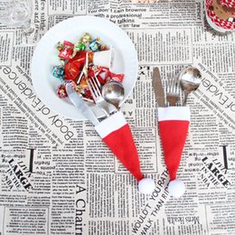 Wholesale Used Knife Set - Wholesale- Christmas hat be used for wine bottle cover, knives, forks ,spoons tableware coat cap set decorative personalized ornaments