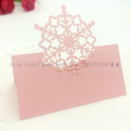 Wholesale Wholesale Paper Snowflake Decorations - Wholesale- 50PCS Place Cards Name Card SnowFlake Party Seat Table Decoration Laser Cut Guest Card Favor Christmas Party Decor Paper Craft
