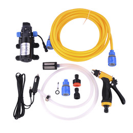 Wholesale Pressure Wash Car - Wholesale- 80W Intellighent High Pressure Vehicle-mounted 12V Car Wash Washer Set Portable Cigarette Lighter Powered Car Washing Machine