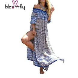 Wholesale Print Strapless Dress - 2017 Summer Bohemian Maxi Dress Women Loose Long Beach Sexy Printed Beach Dresses Split Strapless Off The Shoulder Vestidos