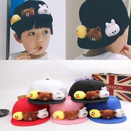 77f963e55a1 10Pcs Baby Boys Girls Cartoon Brown Bear Rabbit Baseball Cap Children Hip  Hop Snapback Cap Kids Outdoor Sun Hat