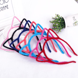 Wholesale Headbands Ears - 2016 Stylish Women Girls Furry Cat Ears Headband Devil Cat Head Hoop Fine Hair Ornaments Hair Accessories Headwear Sexy Hair Band 20pcs lot