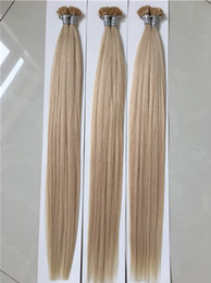 Wholesale Blonde Fusion Extensions - Pre Bonded Flat Tip Hair Extensions 1 Gram Strand Remy Human Keratin Hair 8-30 inch Silky Straight Fusion Hair Extensions 100 strands 100g
