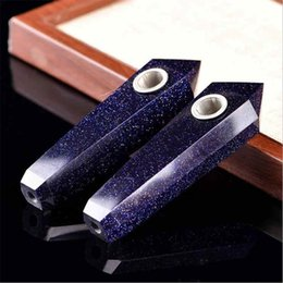 Wholesale Blue Sandstone - Smoking Dogo 2017 New Arrival Hand Made High Quality Natural Crystal Smoking Pipes Blue Sandstone Pipe Tobacco Pipes Hand Pipe CPP-019