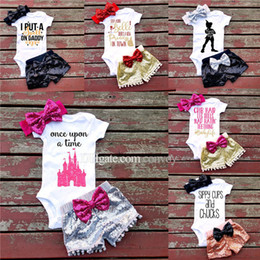 Wholesale Girl Set Bowknot - INS Baby girl Summer letters rompers suit Children Short sleeve triangle rompers+paillette shorts+bowknot Headband 3pcs set clothes KST30
