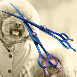 Wholesale Left Hand Scissors Japan - Professional Japan 440c 7.5 8.0 inch pet scissors for brand dog Grooming Blue Curved right left hand shears 15 25 degrees