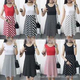 Wholesale Tank Dress For Girls Wholesale - Summer Dress Casual Solid Striped Dresses For Womens Girls Tank Sleeveless Dress Black Whit Red Colors
