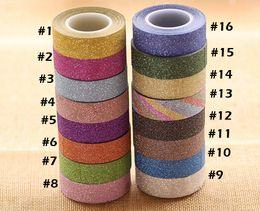 1.5 cm / 10 M Glitter Washi Sticky Paper Masking cinta adhesiva etiqueta Craft decorativo DIY envío gratis 2016 desde fabricantes