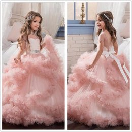 Wholesale Diamond Short Wedding Dress - 2017 Diamond Ruffles Tiered Beading Flower Girl Dresses Short Sleeves Ball Gown First Communion Dresses For Kids Pageant Dresses