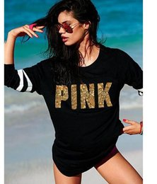 Wholesale Pink Sequin Sweater - Fashion spring new Designed sequin PINK printing long-sleeved women's sweater Casual pull over Hoodies sudaderas Mujer