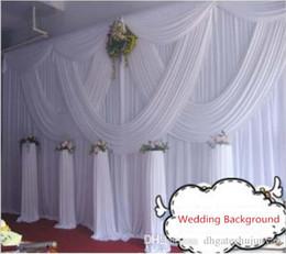 Décoration de mariage en Ligne-DHL Fedex livraison gratuite 10ft * 20ft blanc rideau de mariage avec des guirlandes romantique scène de mariage décors décoration