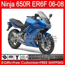 Wholesale Kawasaki Er6 - 8Gifts 23Colors Body For KAWASAKI NINJA 650R ER6F 06 07 08 Ninja650R 20NO43 gloss blue ER 6F 06-08 ER6 F ER-6F 2006 2007 2008 Fairing Kit
