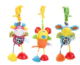 Wholesale Infant Hanging Toys - Baby Animal Clip Rattles Toy Kids Soft Mouse Blue Donkey Pink Deer Plush Toy Infant Stroller Bed Crib Hanging Toys