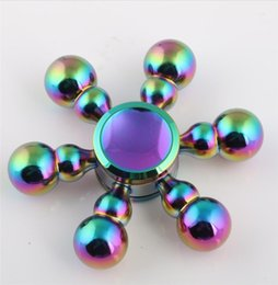 Wholesale Removable Rainbow - Six Arm Gourd King Kong Drops Water Brass Copper Handspinner Fingertip Gyro Fidget Hand Spinner Novelty Gag Toy Hot Rainbow Removable