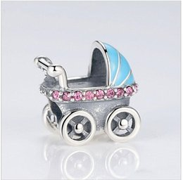 Wholesale Hot Love Tv - Hot Sale100% 925 Sterling Soild Silver Baby Carriage Charm Beads Fit Original Bracelet Bangle Authentic DIY Jewelry Gift