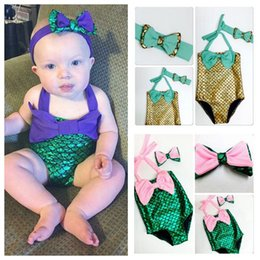 Wholesale Toddler Two Piece Bikini - PrettyBaby bowtie Fashion Princess Girls Mermaid Swimsuit one piece Kids Toddler Bikini 2 Pcs Suit Child Swimwear Children Bathing swimsuit