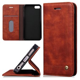 Wholesale Wholesale Crazy Horse Leather Bags - For iPhone 7 Plus Retro Crazy Horse Pattern Wallet Case PU Leather Card Slot Kickstand For Samsung S7 Edge iPhone 5S SE 6 6 Plus 7 Opp Bag