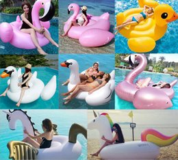 Wholesale Mattress Giant - Summer Swimming Ring Giant Inflatable Swan Unicorn Flamingo Duck Floating Bed Raft Air Mattress PVC Pool Toy Floating Row YYA57