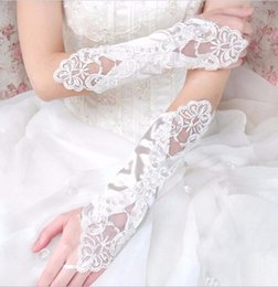 Wholesale Long Sequin Gloves - Elbow Length Bridal Gloves Lace Diamond Sequins Fingerless Satin Long Women Wedding Gloves Wedding Accessories High Quality