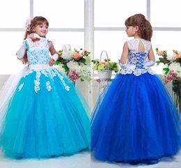 Wholesale Turquoise Children Dresses - FG8001 Lovely Lace Flower Girl Dresses 2016 Scoop Neck Turquoise Royal Blue Child First Communion Gowns Long Girls Dress