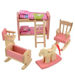 Wholesale Dollhouse Wood - Wooden Doll Bunk Bed Set Furniture Dollhouse Miniature For Kids Child Play Toy Educational Toy Wooden Toys Baby Toys Gift