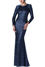 Wholesale Vintage Honey - Honey Qiao Mother Of The Bride Dresses 2017 Sequins Scoop Party Dresses Long Sleeve Floor Length Evening Gowns