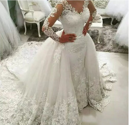 Wholesale Wedding Dresses V Neck Satin - Luxury Applique Lace Mermaid Wedding Dresses 2017 Modern Dubai Long Sleeves Sheer Court Train Bridal Gowns With Removable Tulle Overskirt