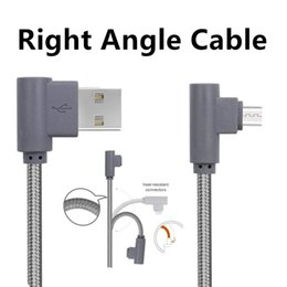 Wholesale Micro Usb Right Angle - Right Angle TYPE C 3.3 ft Micro USB Braided Cable 2A Fast Charging Charger 90 Degree Bend Connector Wire For Samsung S8 Note8 S6 HTC HuaWei