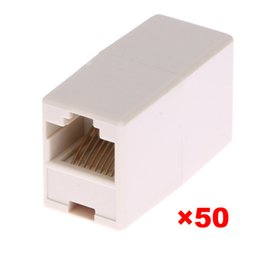 Wholesale Broadband Network - 50pcs lot Universal RJ45 Cat5 8P8C Socket Connector Coupler For Extension Broadband Ethernet Network LAN Cable Joiner Extender