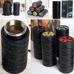 Wholesale Eco Friendly Tire - 300ML Tire Car Mug Water Bottle Stainless Steel Creative Coffee Tea Cup Travel Outdoor Personalized Mugs Water Bottles Free DHL WX-C33