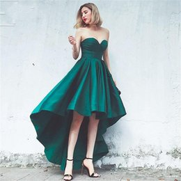 Wholesale Girls Size 12 Slim - 2018 Simple Green Satin Hi-lo Prom Dresses Sweetheart Slim Corst Bodice Lace-up Back Girls Party Homecoming Wear