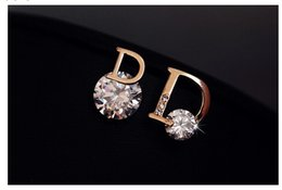 Wholesale Earrings Studs Zircon Sizes - 1.4 * 1.2 cm bridal earrings Fashion accessories asymmetrical letter D size crystal zircon diamond earrings wedding jewelry L242