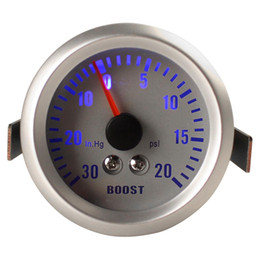 """Wholesale Cars Boost - Silver+Grey Color 2"""" 52mm 0~30in.Hg   0~20PSI Auto Car Boost Gauge Car Turbo Boost Gauge Meter CEC_505"""