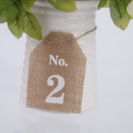 Wholesale Rustic Wedding Table Numbers - Wholesale- Rustic Jute Vintage Wedding Table Numbers 1-10 Hessian Burlap Banner Rustic Wedding Bunting Banner Party Favors