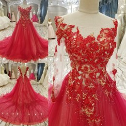 Wholesale High End Red Evening Dresses - SSYFashion New Luxury Lace Evening Dress High-end Bride Married Banquet Red Appliques with Beading Long Sleeved Prom Party Gowns