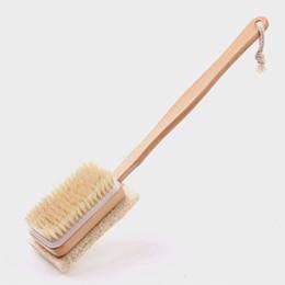 Wholesale Wooden Bath Brushes - Wholesale-Natural Wooden Shower Body Bath Brush Massager Soft Bristles Loofah Sponge Bath Shower Spa Scrubber