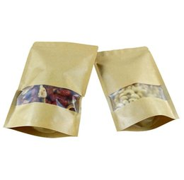 Wholesale April 18 - 18*26cm+4cm kraft paper food bag with frosted window, Food Bag , pet food stand up bags , Packaging For Snacks 02.15