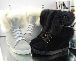 Wholesale winter hidden wedges shoes - 2017 Fashion Top Quality Casade Suede Hidden Wedge High Top Fur Sneakers Women's Lace Up Warm Snow Boots 80mm Heels Winter Boots Casual Shoe
