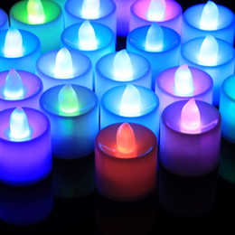 Wholesale Home Deco Candle - LED Light Candles 7 Colors Flameless Smokeless LED Tea Light Battery Home Deco Wedding Party Holiday Decoartion