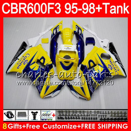 Wholesale Corona Black - 8 Gifts 23 Colors For HONDA CBR600F3 95 96 97 98 CBR600RR FS CORONA Yellow 2HM3 CBR600 F3 600F3 CBR 600 F3 1995 1996 1997 1998 blue Fairing